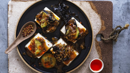 Neil Perry's steamed silken tofu with black vinegar and chilli oil