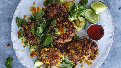 Karen Martini's chicken and corn koftas with coriander and avocado