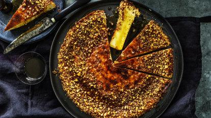 Karen Martini's mascarpone, ricotta, maple and walnut cheesecake