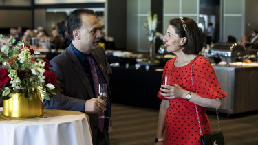 Peter V'landys and Gladys Berejiklian enjoying a shandy at last year's inaugural Golden Eagle Day at Rosehill Gardens.