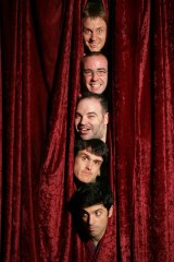 The Chaser Team for their stage show, The Age of Terror, from top to bottom, Craig Reucassel, Julian Morrow, Dominic Knight, Andrew Hansen and Chas Licciardello.
