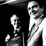 Royal Commissioner Tony Fitzgerald handing his report to then-Queensland premier Mike Ahern on July 2, 1989.