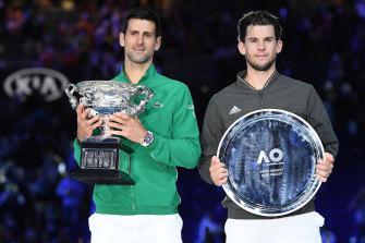 Novak Djokovic, left, and Dominic Thiem at the Australian Open this year.
