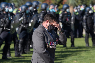 A visibly upset man at the Shrine on Wednesday.