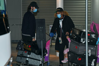 Serena Williams and her family arrive in Adelaide ahead of the Australian Open. Tennis Australia ran its own quarantine system for players and staff.
