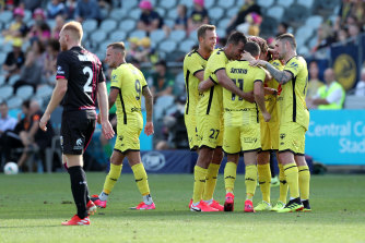 Wellington celebrate Jaushua Sotirio's goal in the victory over Central Coast.