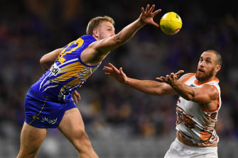 Oscar Allen and Shane Mumford compete during the Eagles' 12-point AFL win over GWS in Perth on Sunday.