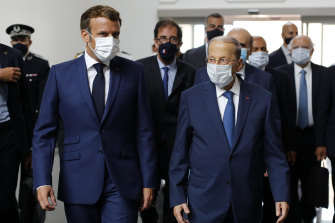 French President Emmanuel Macron and Lebanese President Michel Aoun in Beirut after the explosion.