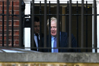 British Prime Mininster, Boris Johnson departs from the rear of 10 Downing Street on Thursday.