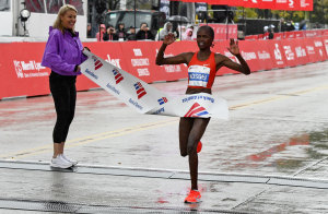 Kenya's Brigid Kosgei winning the Chicago Marathon on 2018.
