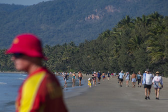 Four Mile Beach in Port Douglas: The town had been flooded with escapees from Victoria until the most recent lockdown began.