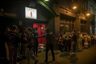 The crowd lines up at the The Soda Factory.