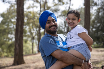 Amandeep Singh Dharni and daughter Harsimrat Kaur Dharni enjoy Australia Day by spending time with their family and friends at community events near Parramatta.