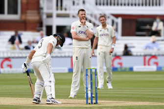 Ollie Robinson of England reacts after the failed appeal for the wicket of Ross Taylor.