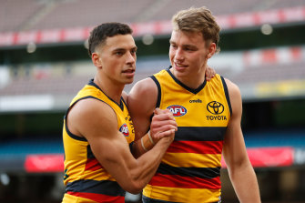 Adelaide's Ben Davis and Riley Thilthorpe (right).