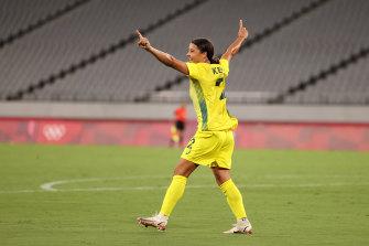 Sam Kerr scores for the Matildas against New Zealand.
