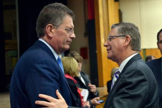Premier Denis Napthine and Ted Baillieu in July 2014.