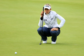 Nelly Korda lines up a putt in the first round of the Women's British Open.