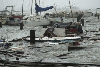 Damaged boats at Corpus Christi, Texas, after Hurricane Hanna hit.