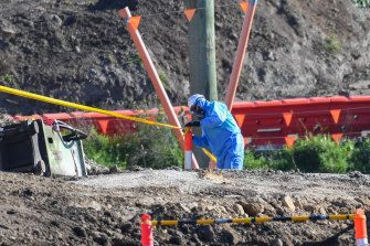 A worker at a West Gate Tunnel project site in Altona North in June.