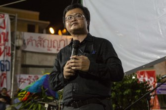 Thai human rights lawyer Anon Nampa speaks at a demonstration in Bangkok last month.