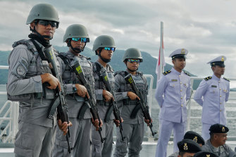 Indonesian coast guards prepare to patrol the North Natuna Sea.