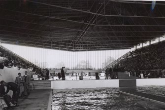 Melbourne's Olympic Swimming Stadium, c 1956.