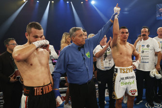 Tim Tszyu is declared the winner after Wednesday's fight.