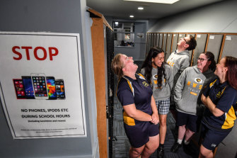 Narre Warren South students (left to right)  Madeleine Gwynne, 15, Joanna Ramea, 17,  Ryan Ihle, 17, Melinda Rogerson and  Michaela Ford, 15, are adjusting to the ban.