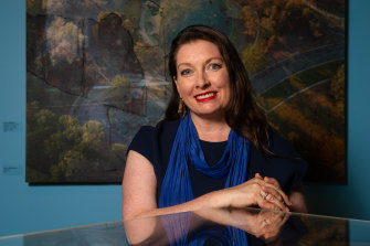 Dr Sarah Schmidt, director at Canberra Museum and Gallery, has conducted extensive research into Streeton's Venetian masterpiece.  (The artwork behind her is Bruce Reynolds 'Academy', 2007.)