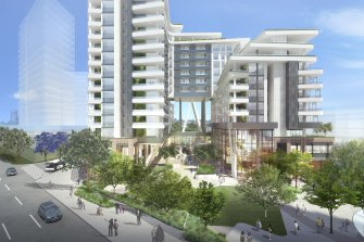 Artist's impression of the development with The Raffles visible in the background to the left.