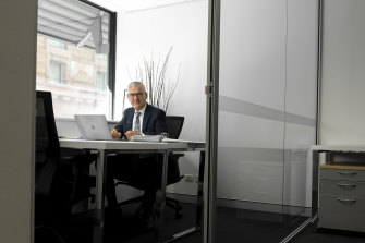 Accountant Peter Knight has kept working from his office in Sydney's CBD while his clients contact him online.