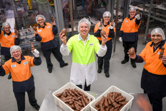 Deputy lord mayor Arron Wood at the Mondelez Cadbury plant on Monday.