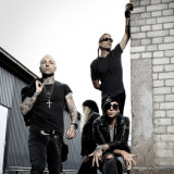 Backyard Babies with Dregen (front, right) will return to Australia next month.