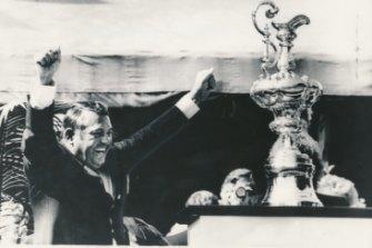Alan Bond rejoices in 1983.