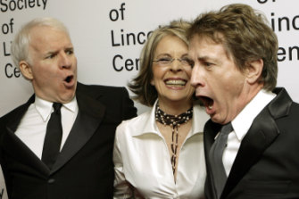 Steve Martin and Martin Short joke backstage with Diane Keaton at the Film Society of Lincoln Centre's  Gala Tribute in New York in 2007.