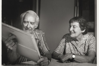 Jill White's portrait of Max Dupain and Olive Cotton in Sydney in 1990. Max died in 1992 and Olive in 2003.