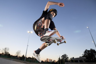Matthew Orchard hones his skateboarding skills at Meadowbank Skate Park, one of several newly built in Sydney.