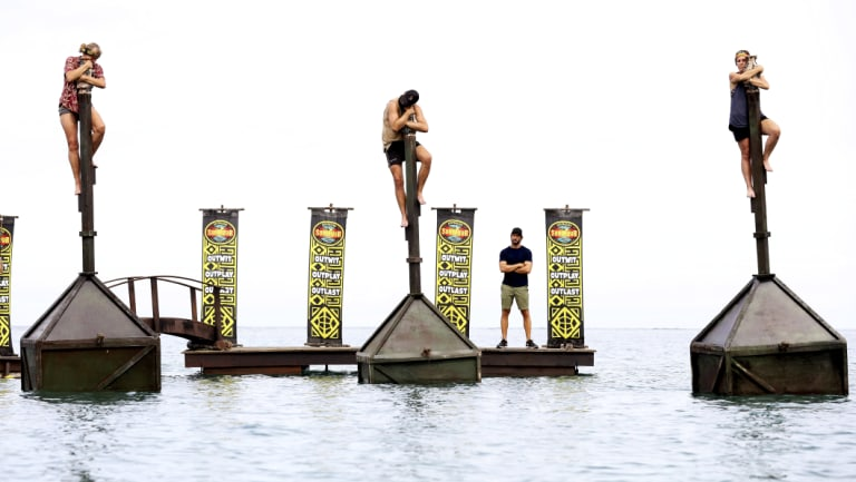 Shane Gould, Brian Lake and Sharn Coombes in the Australian Survivor finale endurance challenge.