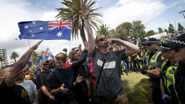 Silly antics: some of the rally participants made Nazi salutes.