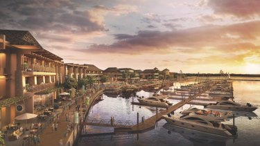 An artist's impression of the proposed marina as part of the Great Keppel Island redevelopment.