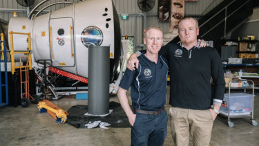 Gilmour Space Technologies CEO Adam Gilmour, left, with brother and company director James Gilmour at its Gold Coast rocket facility.