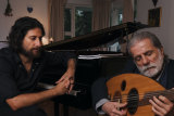 Marcel Khalife with his son Rami at home on Sydney's North Shore.