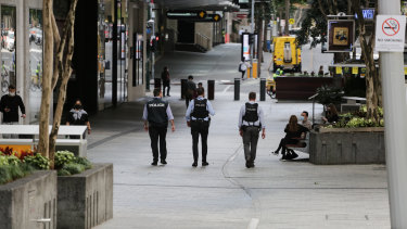 Brisbane's CBD during a lockdown of 11 south-east Queensland LGAs to halt the spread of an emerging COVID-19 Delta strain outbreak.