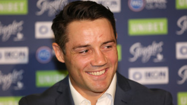 Curtains: Cooper Cronk at his thugged-out lil' press conference on Monday.
