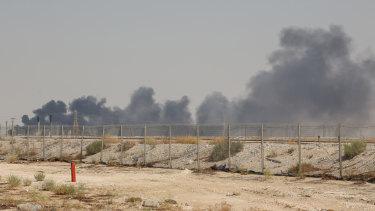 Smoke fills the sky at the Abqaiq oil processing facility in Saudi Arabia on Saturday.