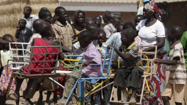 Children displaced after attacks by Boko Haram, play in a camp of internal displaced people, in Yola, Nigeria.