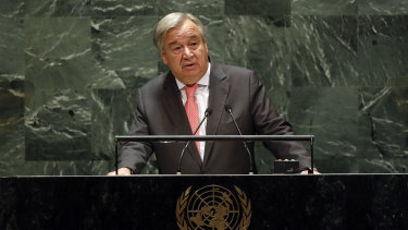 UN Secretary General Antonio Guterres addresses the 74th session of the United Nations General Assembly.