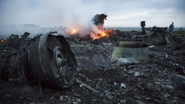 Debris of flight MH17 that fell over a Ukrainian village.