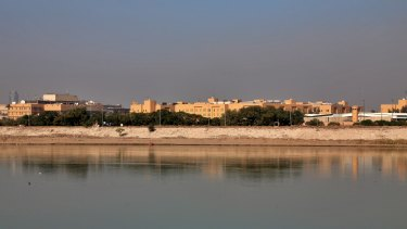 US Embassy is seen from across the Tigris River in Baghdad, Iraq.